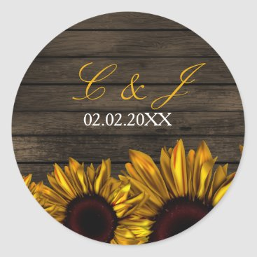 Rustic Country Sunflowers Barn Wood  stickers