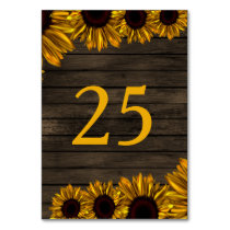 Rustic Country Sunflowers Barn Wood table number Card