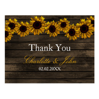 Rustic Country Sunflowers Barn Wood Thank You Postcard