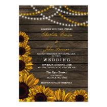 Rustic Country Sunflowers Barn Wood Wedding Card