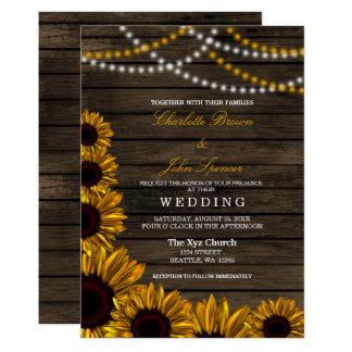 Rustic Country Sunflowers Barn Wood Wedding Invitation