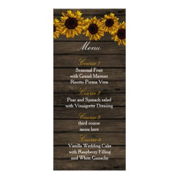 Rustic Country Sunflowers Barn Wood Wedding menu
