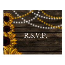 Rustic Country Sunflowers Barn Wood Wedding RSVP Postcard
