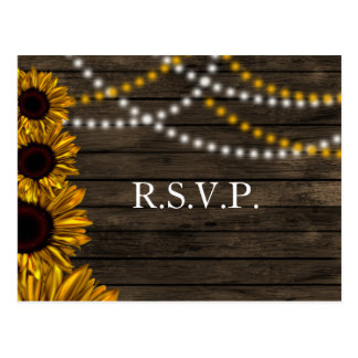 Rustic Country Sunflowers Barn Wood Wedding RSVP Postcard
