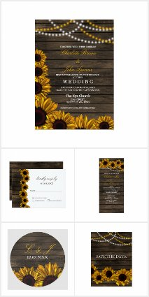 Rustic Country Sunflowers Barn Wood Wedding Set