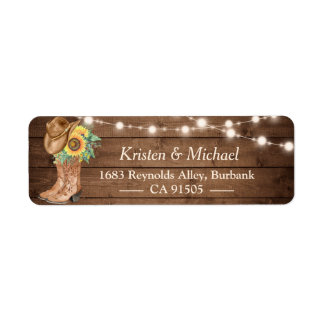Rustic Country Sunflowers Boots String Lights Label