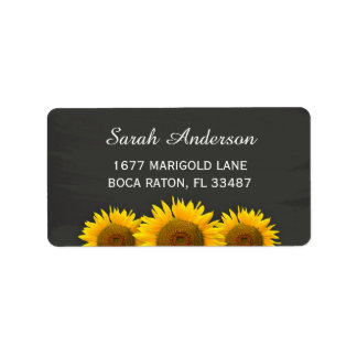 Rustic Country Sunflowers Classy Chalkboard Label