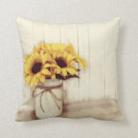 Rustic Country Sunflowers Mason Jar Throw Pillow