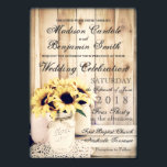 """Rustic Country Sunflowers Mason Jar Wedding Invite<br><div class=""""desc"""">Rustic Country Sunflowers and Mason Jars Wedding Invitations with a unique distressed wood background with three mason jars with a twine bow and filled with sunflowers sitting on a lace doily. The same rustic mason jar and sunflower design is also on the back of the invitation. These are great for...</div>"""
