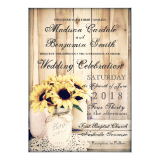 Rustic Country Sunflowers Mason Jar Wedding Invite at Zazzle