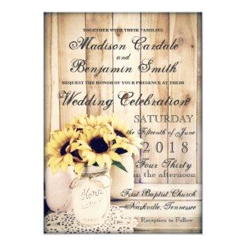 Rustic Country Sunflowers Mason Jar Wedding Invite by RusticCountryWedding at Zazzle