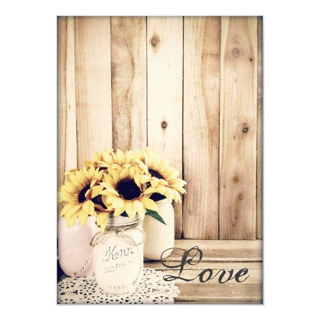 Rustic Country Sunflowers Mason Jar Wedding Invite | Zazzle