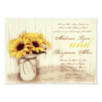 "Rustic Country Sunflowers Mason Jar Wedding Invite 5"" X 7"" Invitation Card"