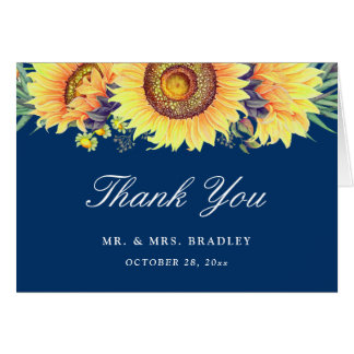 Rustic Country Sunflowers Navy Blue Thank You Card