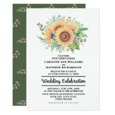 Rustic Country Sunflowers Wedding Invitations at Zazzle