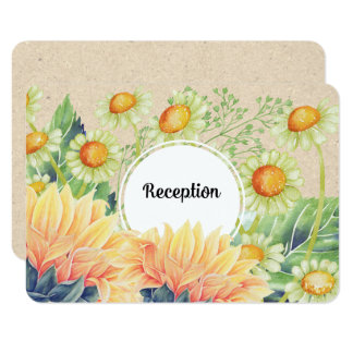 Rustic Country Sunflowers Wedding Reception Cards