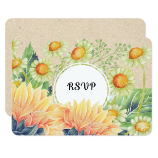 Rustic Country Sunflowers Wedding RSVP Cards