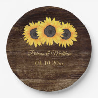 Rustic Country Sunflowers Wood Paper Dinner Plate
