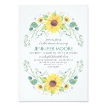 Rustic Country Sunflowers Wreath Bridal Shower Card