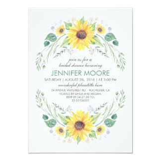 Rustic Country Sunflowers Wreath Bridal Shower Invitation