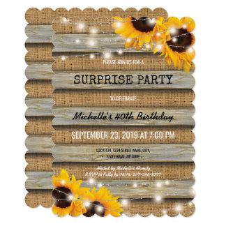 Rustic Country Surprise Birthday Party Card