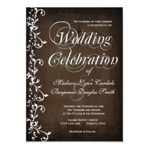 Rustic Country Swirls Brown Wedding Invitations Personalized Invite
