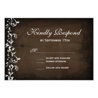 Rustic Country Swirls Brown Wedding RSVP Cards