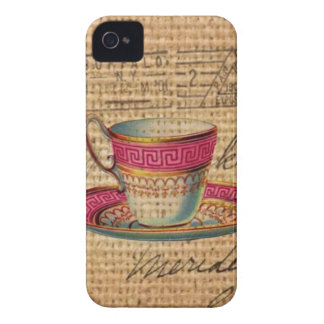 Rustic country tea party pink victorian teacup Case-Mate iPhone 4 case