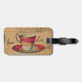 Rustic country tea party pink victorian teacup luggage tag