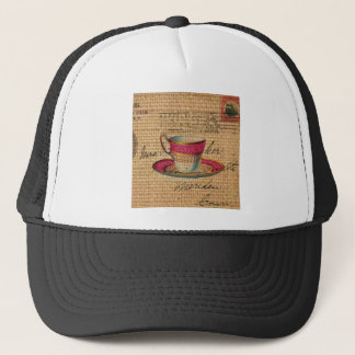 Rustic country tea party pink victorian teacup trucker hat