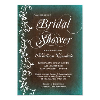 Rustic Country Teal Brown Bridal Shower Invitation Personalized Announcement