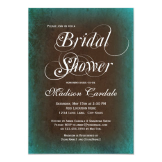 Rustic Country Teal Brown Bridal Shower Invitation Invites