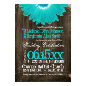 Rustic Country Teal Daisy Wood Wedding Invitations Personalized Invites