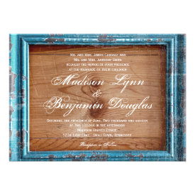 Rustic Country Teal Frame Wood Wedding Invitations Custom Invite