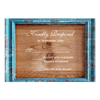 Rustic Country Teal Frame Wood Wedding RSVP Cards