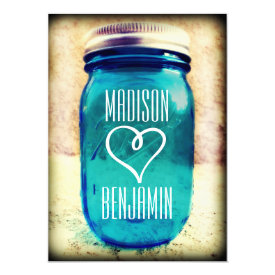 Rustic Country Teal Mason Jar Wedding Invitations 4.5