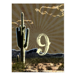 Rustic country Texas cactus western table number Postcard