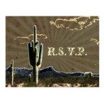 Rustic country Texas cactus western wedding RSVP Postcard