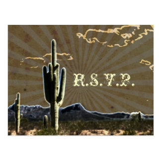 Rustic country Texas cactus western wedding RSVP Postcard