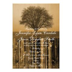 Rustic Country Tree Barn Wood Wedding Invitations