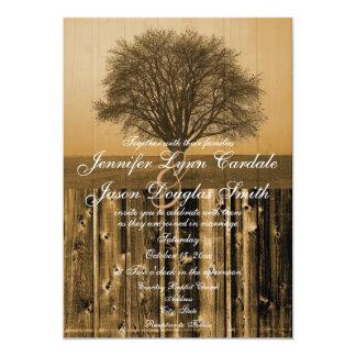 "Rustic Country Tree Barn Wood Wedding Invitations 5"" X 7"" Invitation Card"