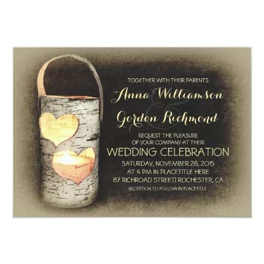 Wedding Invitation Candles: Rustic Country Tree Candle Wedding Invitations
