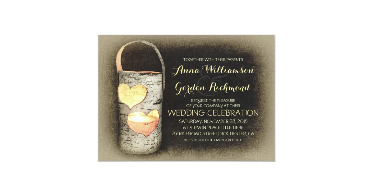 Candlelight Wedding Invitations: Rustic Country Tree Candle Wedding Invitations