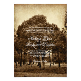 Rustic Country Tree Distressed Wedding Invitations 4.5