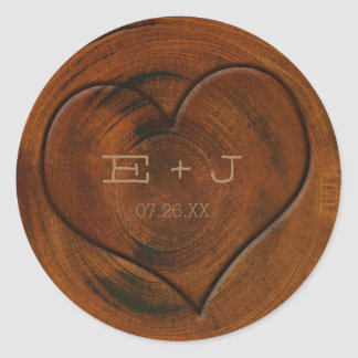 Rustic Country Tree Stump Carved Heart Stickers