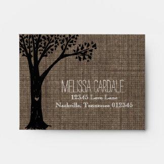 Rustic Country Tree Wedding RSVP Return Envelopes