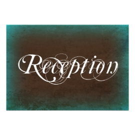 Rustic Country Turquoise Brown Reception Cards