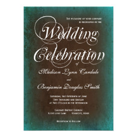 Rustic Country Turquoise Brown Wedding Invitations Personalized Announcements