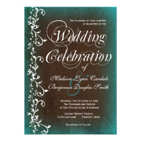 Rustic Country Turquoise Brown Wedding Invitations Personalized Announcement