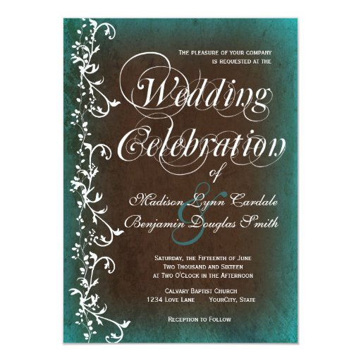 Rustic Country Turquoise Brown Wedding Invitations